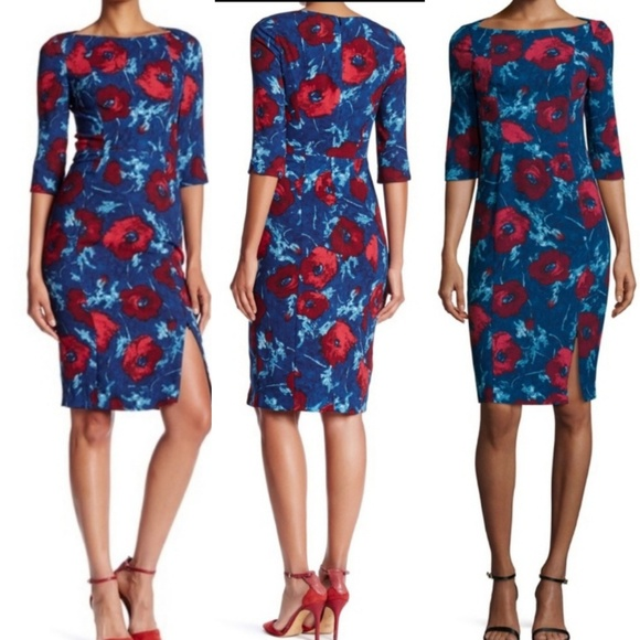 Black Halo Dresses & Skirts - Black Halo Floral 3/4 Sleeve Sheath Dress